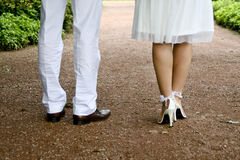 Wedding Couple. A young Wedding Couple in a parc royalty free stock images