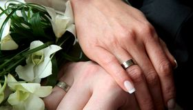 Wedding couple. Picture of hands of wedding couple Stock Images