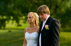 Wedding Couple. A portrait of a cute wedding couple Royalty Free Stock Images