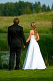 Wedding Couple. Lovely wedding couple watching a beautiful landscape Stock Photos