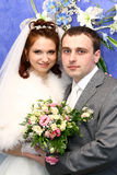 Wedding couple. With bridal bouquet Stock Photography