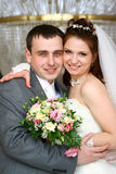 Wedding couple. With bridal bouquet Stock Image