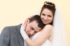 Wedding couple. Bride and groom having fun Stock Image
