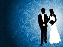 Wedding couple on the abstract blue background. Vector Stock Images