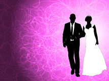 Wedding couple on the abstract purple background. Vector Stock Photography