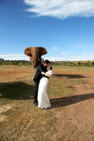 Wedding Couple and African elephant shoot. Wedding couple posing with an elephants on their wedding day. Groom kissing the bride Royalty Free Stock Image