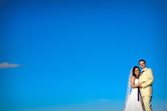 Wedding couple asky in evening copy space Stock Image
