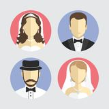 Wedding couple avatar, flat design vector Royalty Free Stock Images
