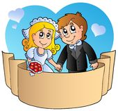Wedding couple with banner. Illustration Royalty Free Stock Photos