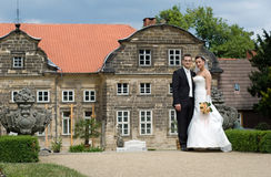 Wedding couple baroque castle Stock Image