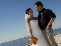 Wedding couple on beach Stock Images