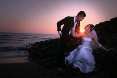 Wedding couple at beach royalty free stock images