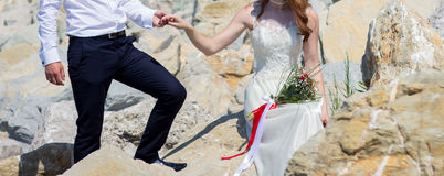 Wedding couple on the beach. At the Black Sea royalty free stock images