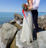 Wedding couple on the beach. At the Black Sea royalty free stock photography