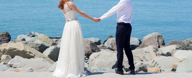 Wedding couple on the beach. At the Black Sea royalty free stock image