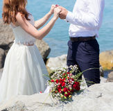 Wedding couple on the beach. At the Black Sea stock images