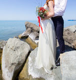 Wedding couple on the beach. At the Black Sea stock image