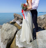 Wedding couple on the beach. At the Black Sea royalty free stock photo