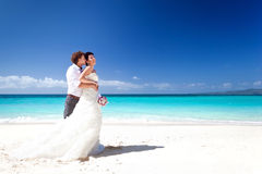 Wedding couple on beach Stock Images