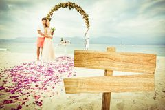 Wedding couple at the beach Stock Photography