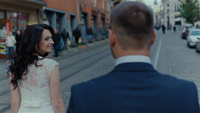 Wedding couple in the beautiful city stock video