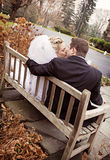 Wedding couple on bench Stock Photo