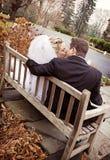Wedding couple on bench Stock Photo