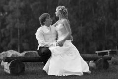 Wedding Couple on Bench. A black & white background with a view of a wedding couple sitting on a park bench Royalty Free Stock Image