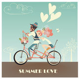 Wedding couple on bicycle. Happy vintage cute wedding couple on bicycle stock illustration