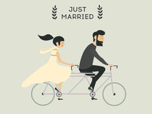 Wedding couple on bicycle. Just married wedding couple riding bicycle Royalty Free Stock Photography