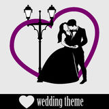Wedding Couple with big heart and vintage street lamp Royalty Free Stock Photo