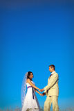 Wedding couple blue sky in evening copy space Stock Photography