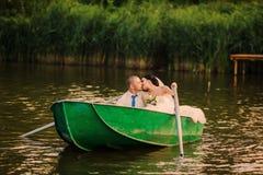 Wedding couple boat lake Royalty Free Stock Photography