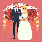Wedding couple with bouquet. Cute cartoon wedding couple. Wedding couple with bouquet. Vector cartoon illustration of a wedding Stock Photos