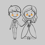 Wedding couple with a bouquet Royalty Free Stock Photo