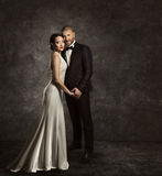 Wedding Couple, Bride and Groom Fashion Portrait, Elegant Suit. Long Silk Dress, Full Length Stock Images
