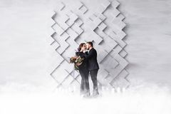 Wedding Couple, Bride and Groom fashion portrait, over gray volumetric background with copyspace. Dry ice smoke. Wedding Couple, Bride and Groom fashion Stock Photo