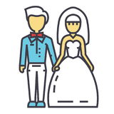 Wedding couple, bride and groom, marriage, just married concept. Line vector icon. Editable stroke. Flat linear illustration isolated on white background Stock Image