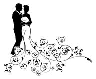Wedding Couple Bride and Groom Silhouettes. A bride and groom wedding couple in silhouette with a patterned bridal wedding dress gown with an abstract floral Stock Images