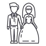 Wedding couple,bride and groom vector line icon, sign, illustration on background, editable strokes. Wedding couple,bride and groom vector line icon, sign Stock Photo