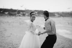 Wedding couple, bride and groom, walking on a. Wedding couple walking on a beautiful beach Stock Photos