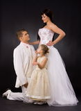 Wedding couple and bridesmaid Royalty Free Stock Photography