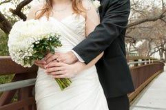 Wedding couple on bridge Royalty Free Stock Photo