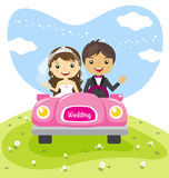 Wedding couple in a car, cartoon married character design. Vector illustration Stock Image