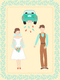 Wedding couple and car. Vector illustration with happy married couple and car decorated with floral border Royalty Free Stock Photos