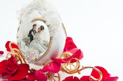 The wedding couple in a carriage. Stock Photo