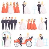 Wedding couple celebrating with their friends set, bride and groom, bridesmaids, groomsmen at a wedding ceremony vector. Illustration isolated on a white vector illustration