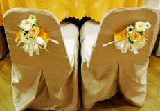 Wedding couple chair. Beautiful decorated wedding couple chair Royalty Free Stock Images
