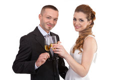 Wedding couple with champagne glasses Stock Images