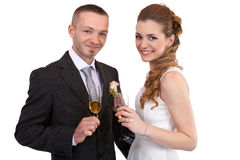 Wedding couple with champagne glasses Royalty Free Stock Images